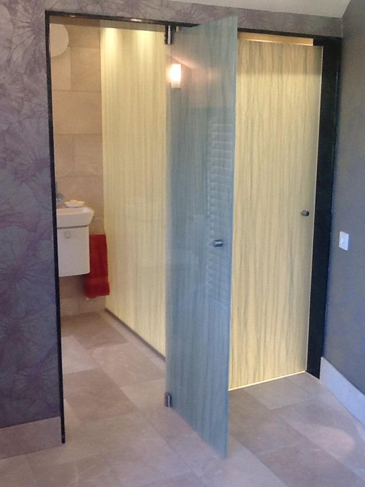 Toilet door example modesty glass