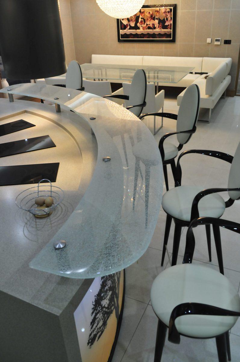 Aughton residene Lancashire glass breakfast bar