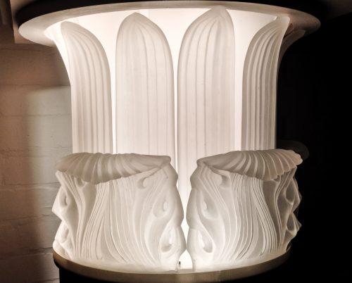 Cast lead crystal glass Corinthian column capitals