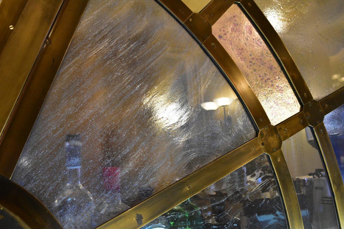 Alternate close up of glass bar at RAC club London pall mall
