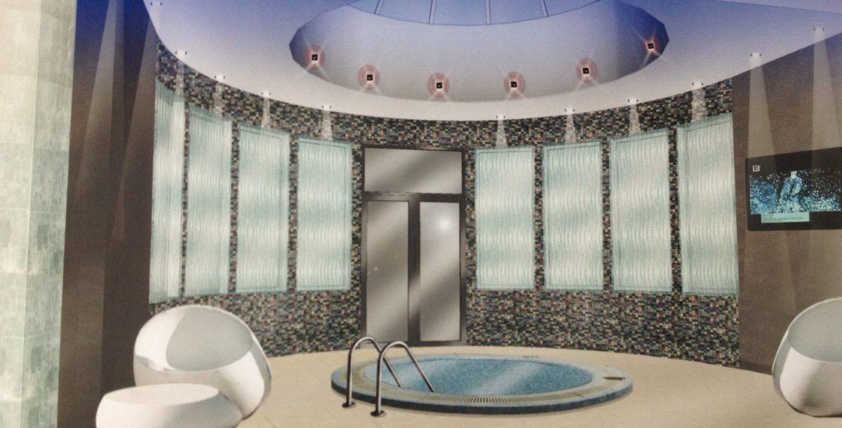 Computer graphic of daedalian glass and swimming pool
