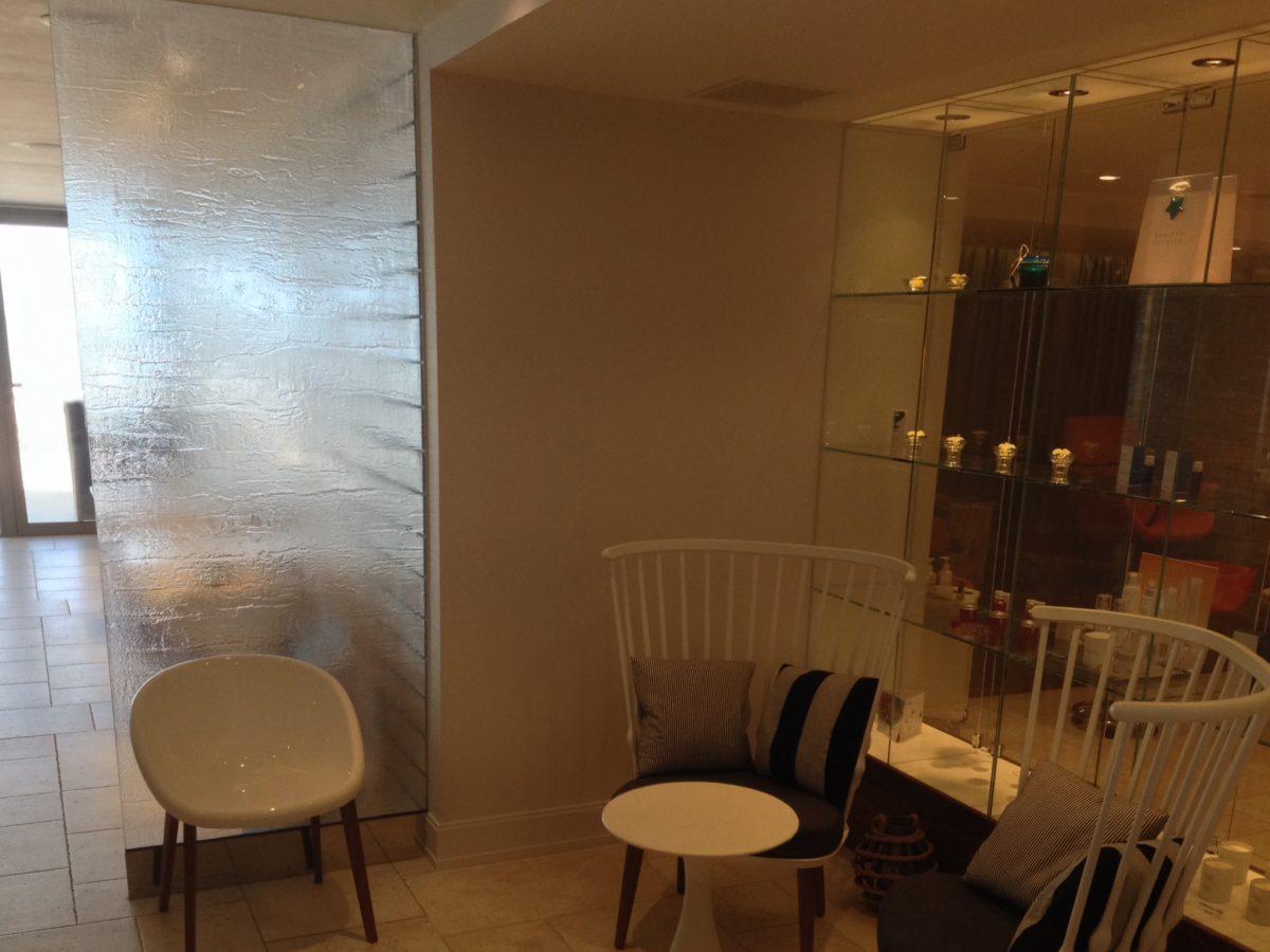 Glass wall and chairs at The Headland Cornwall Daedalian Glass