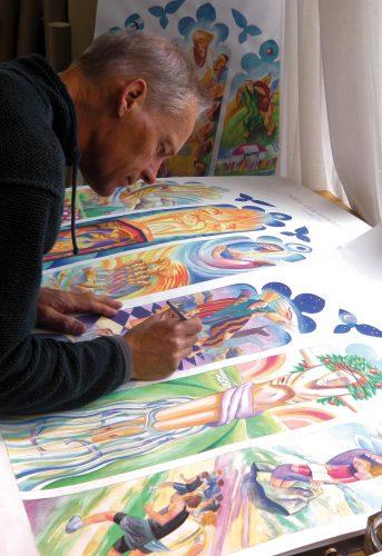 Nick working on drawings for Abingdon School Chapel