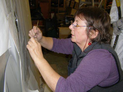 Davia working on St Nicholas's Church