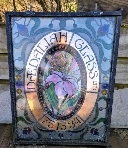 The sign from the original premises of Daedalian Glass Studios (1986 – 1993).